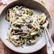 8 Ingredient Garlic Butter Mushroom and Goat Cheese Fettuccine.