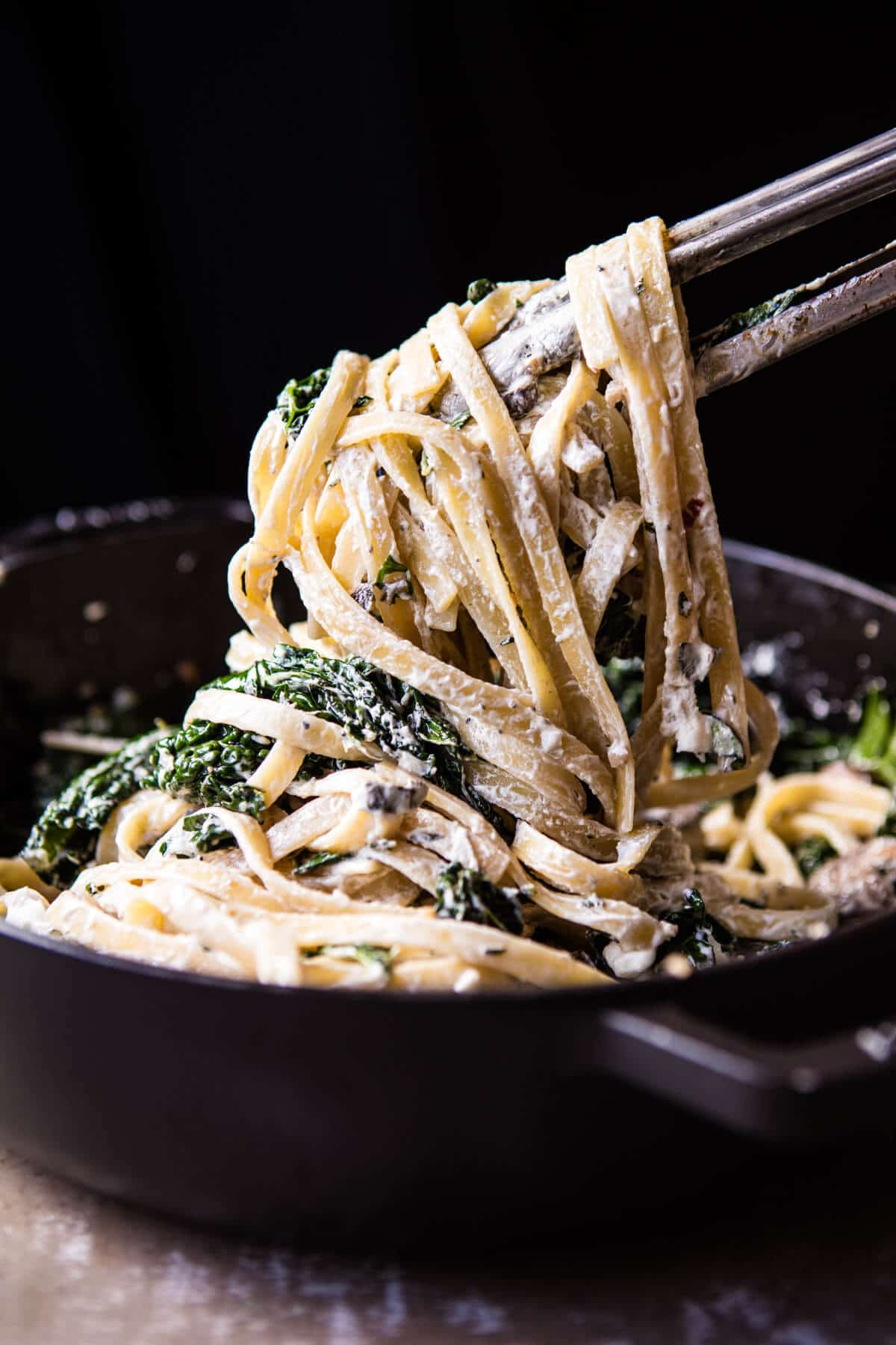 8 Ingredient Garlic Butter Mushroom and Goat Cheese Fettuccine | halfbakedharvest.com @hbharvest