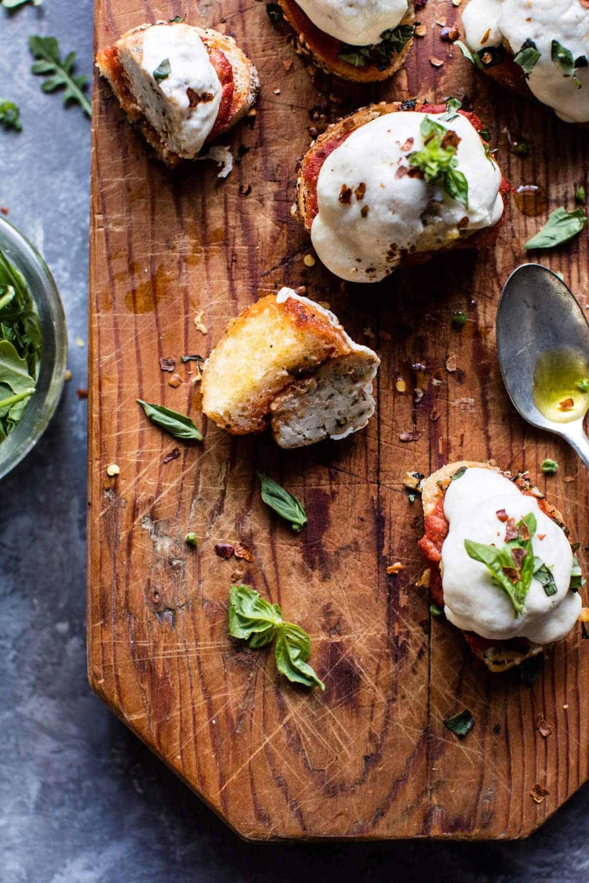 Chicken Parmesan Meatball Crostini | halfbakedharvest.com @hbharvest