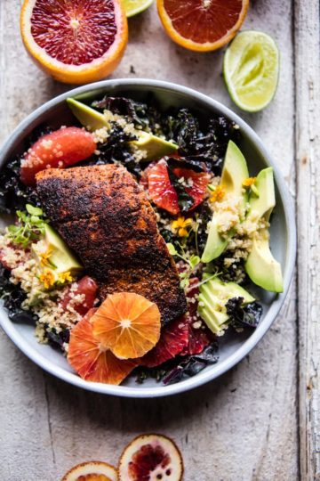 Glowing Citrus, Avocado, Quinoa, and Blackened Salmon Salad.