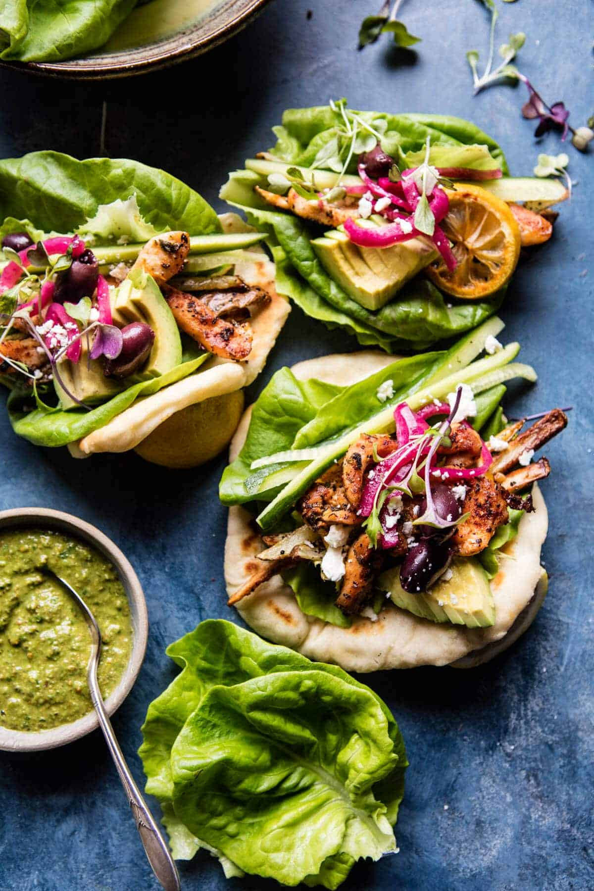 Green Goddess Salad Wraps with Basil Pesto