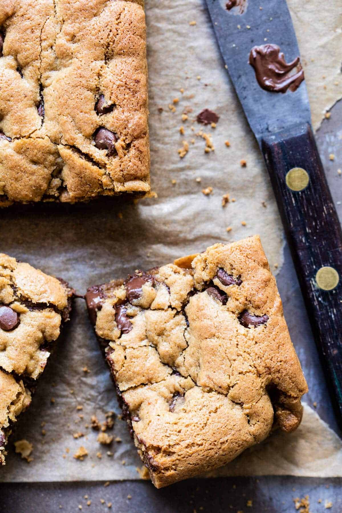 Healthy...ish Chocolate Chip Cookie Bars | halfbakedharvest.com @hbharvest