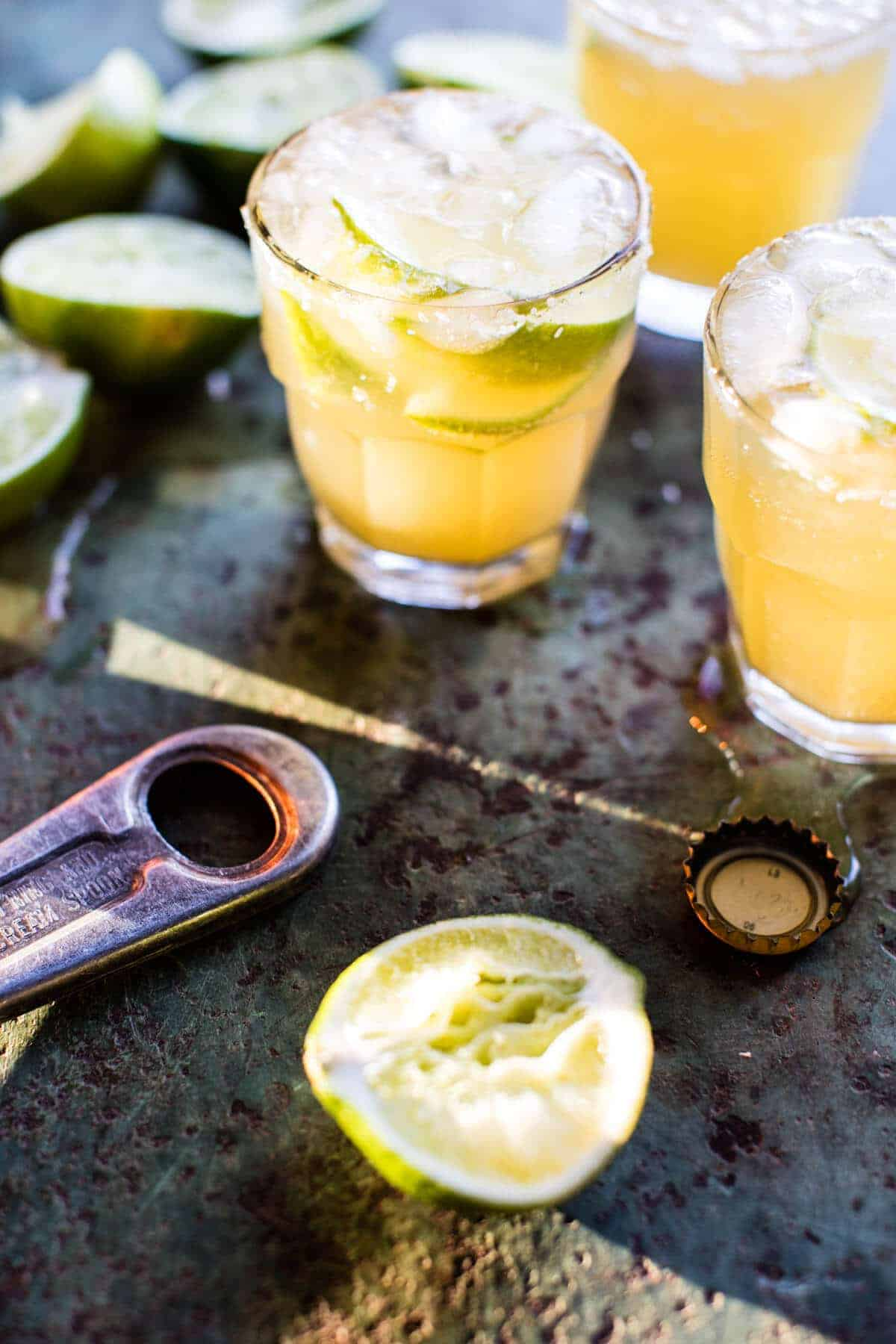 Pineapple Lime Beer Margaritas.
