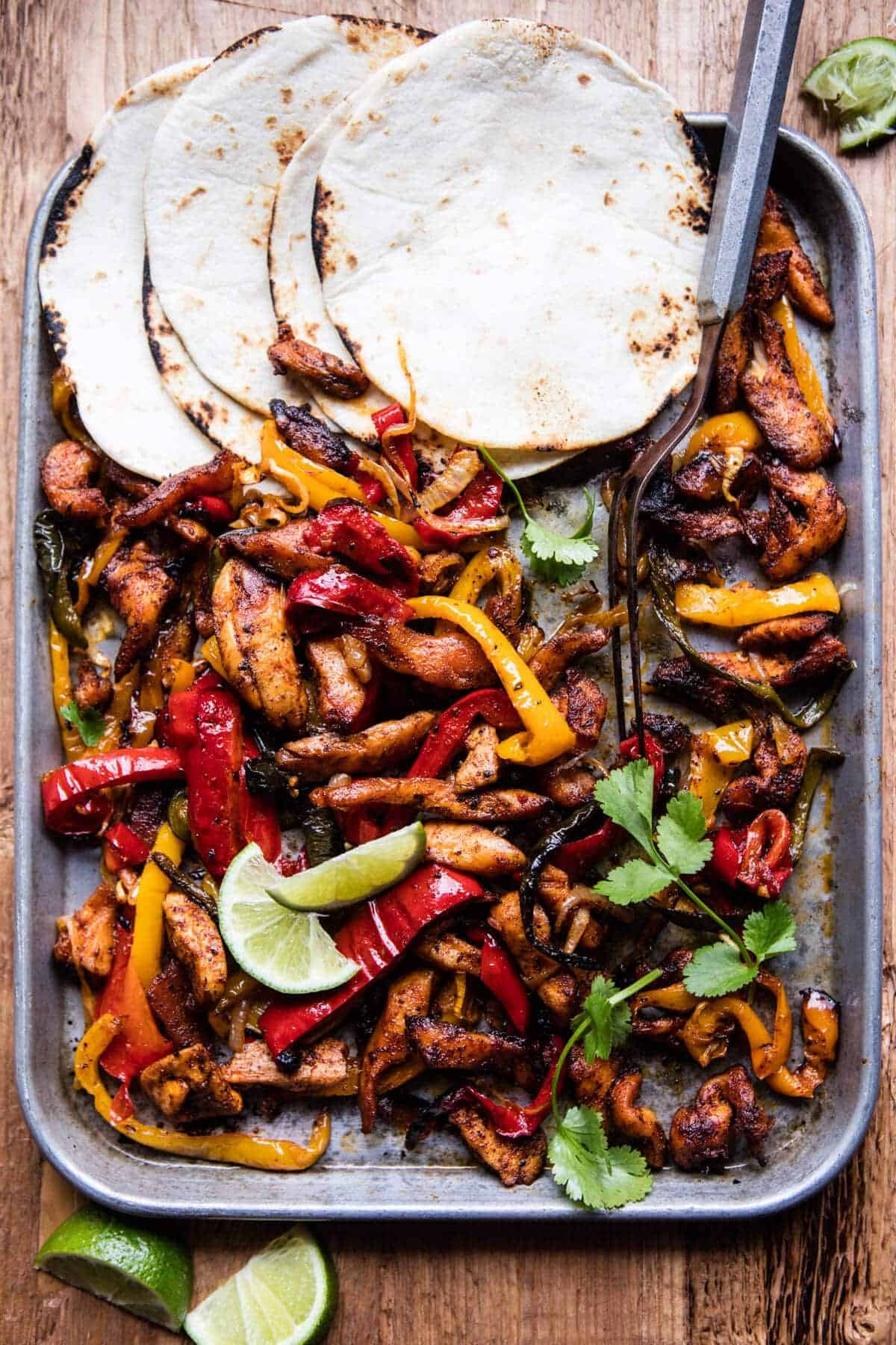 Sheet Pan Poblano Chicken Fajitas. - Half Baked Harvest