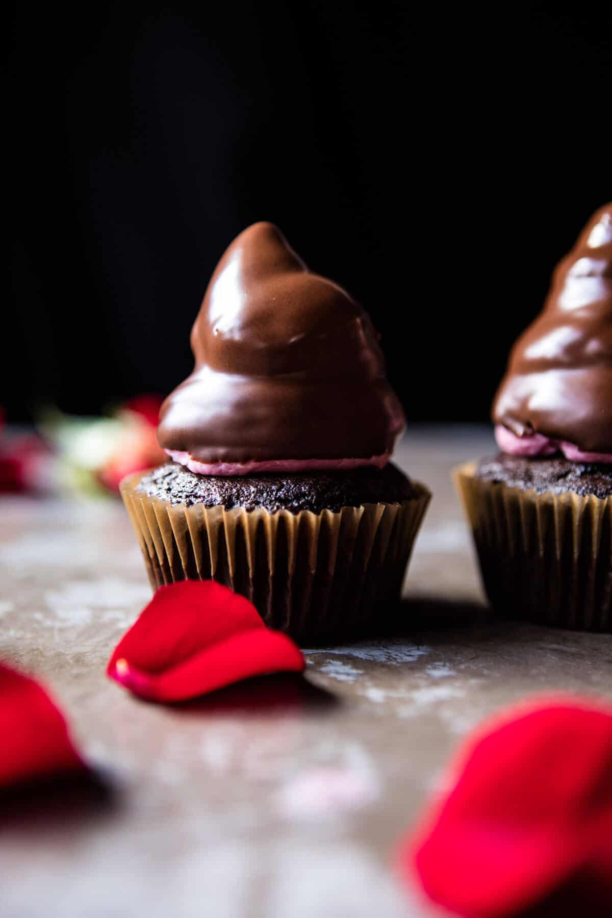Valentine's Surprise Chocolate High Hat Cupcakes | halfbakedharvest.com @hbharvest