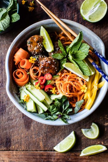 Vietnamese Meatball and Sweet Potato Noodle Bowl.