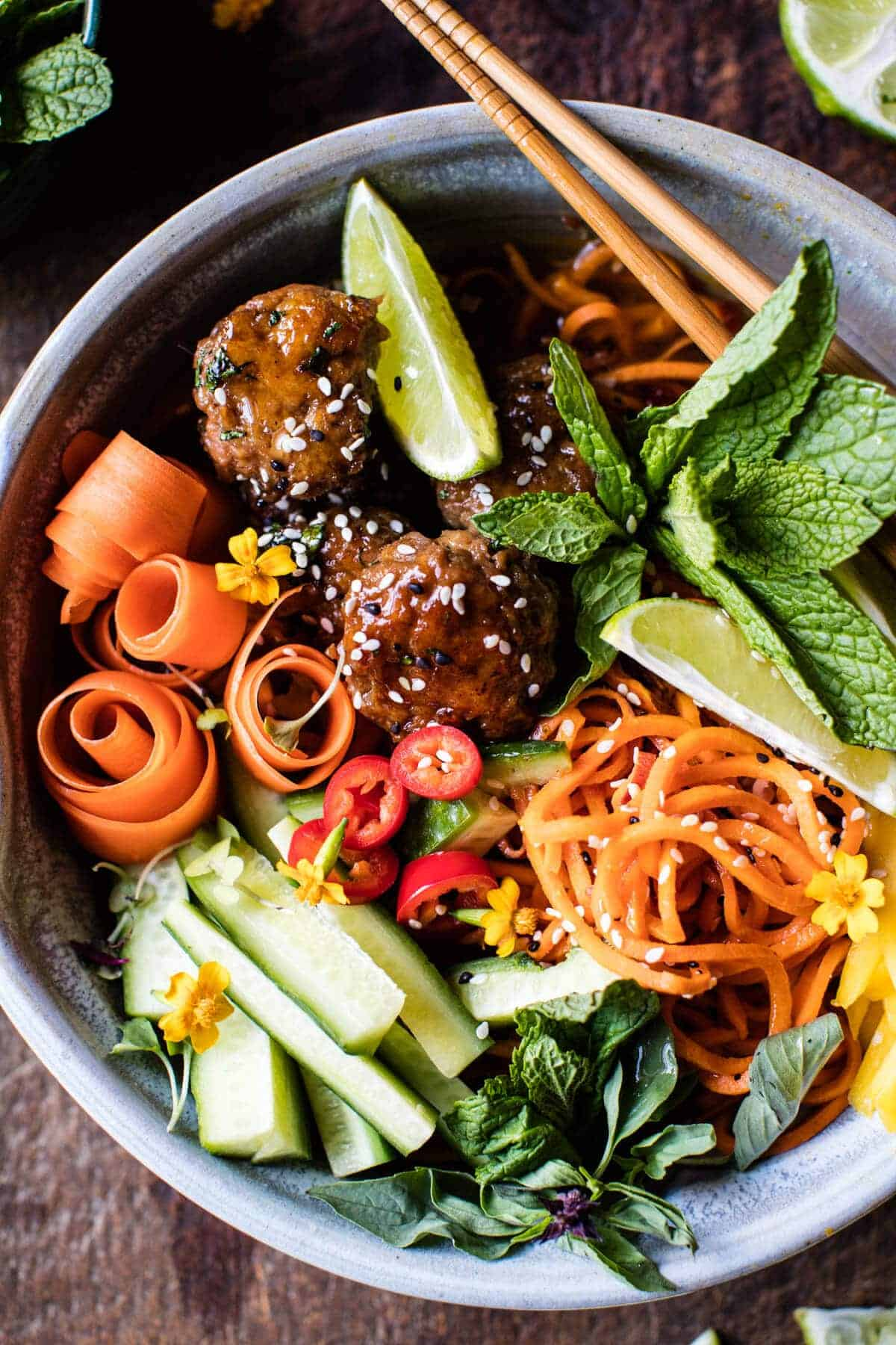 Vietnamese Meatball and Sweet Potato Noodle Bowl | halfbakedharvest.com @hbharvest