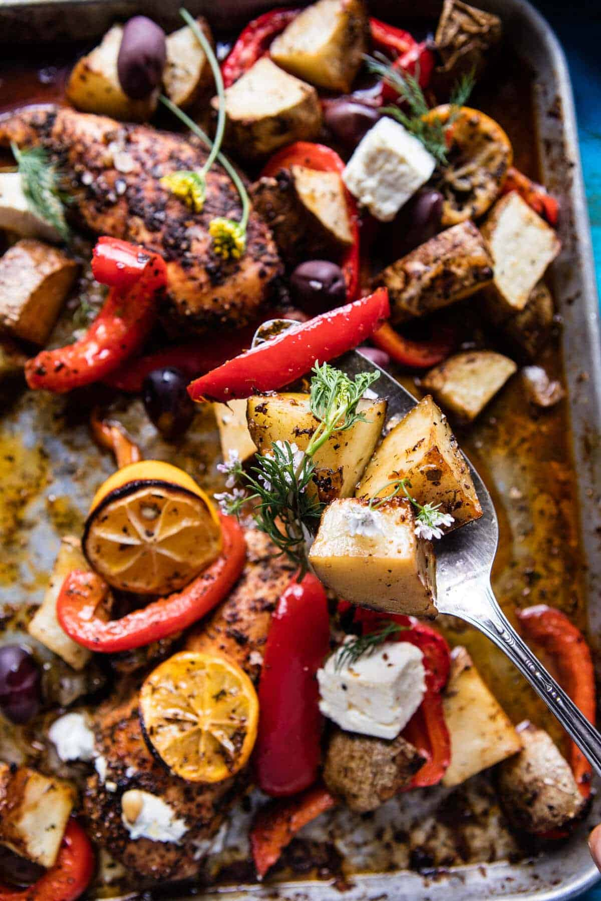 Best Easy Greek Sheet Pan Chicken Souvlaki and Potatoes | halfbakedharvest.com @hbharvest