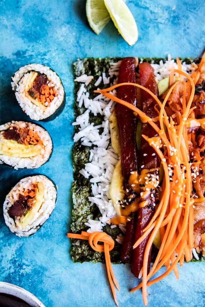 Korean Avocado Tuna Sushi Roll   halfbakedharvest.com @hbharvest