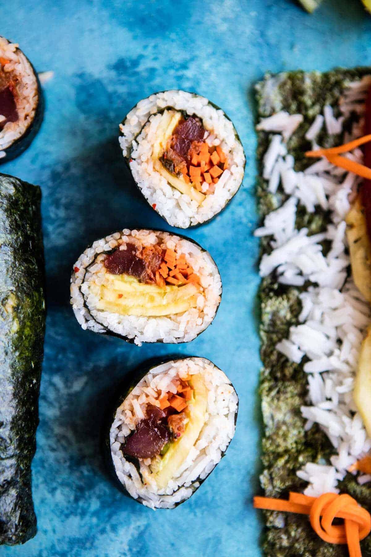 Korean Avocado Tuna Sushi Roll | halfbakedharvest.com @hbharvest