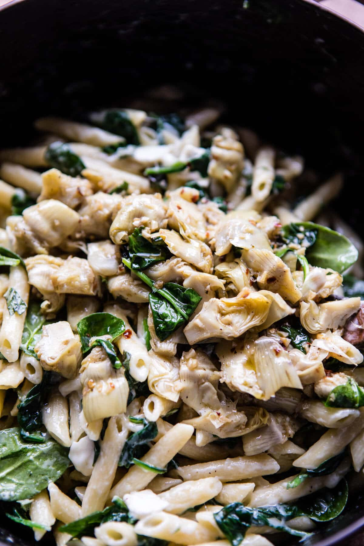 Lemony Spinach and Artichoke Brie Penne Pasta. - Half ...
