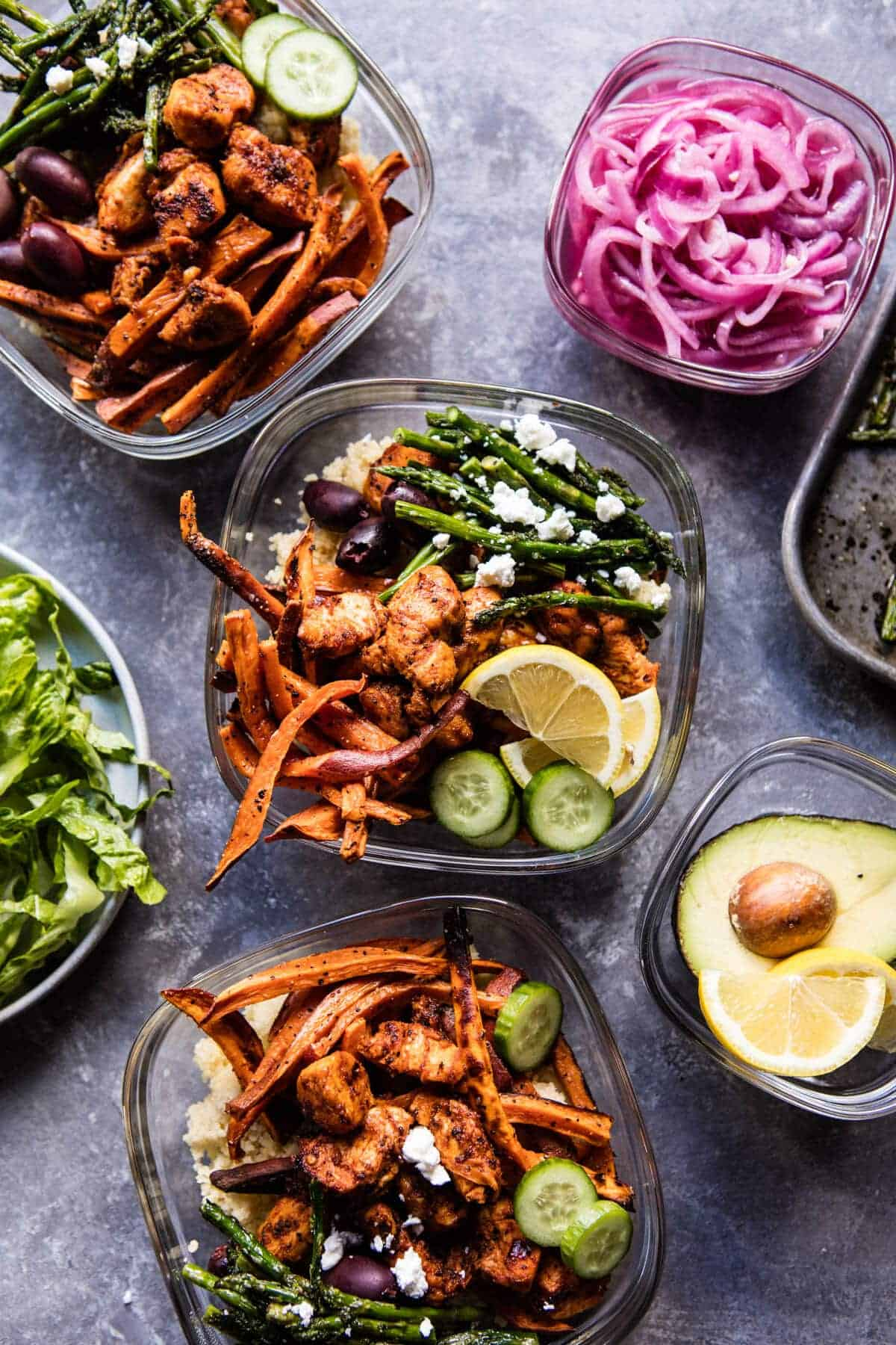 Meal Prep: Chicken Shawarma and Sweet Potato Fry Bowls | halfbakedharvest.com @hbharvest