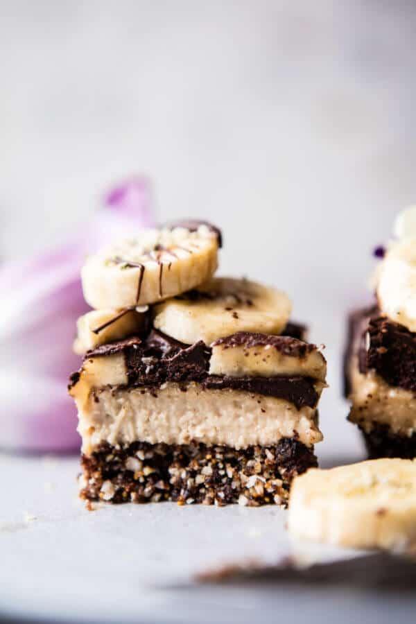 Raw Chocolate Banana Cashew Cream Pie Bars | halfbakedharvest.com @hbharvest