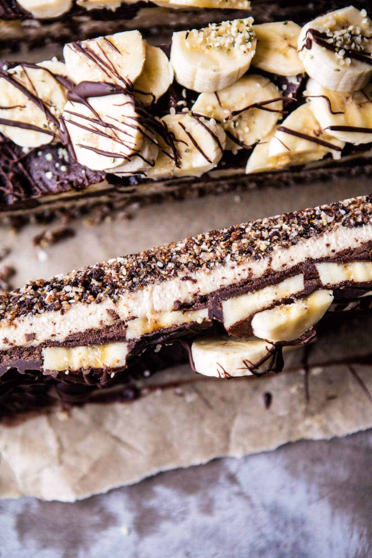 Raw Chocolate Banana Cashew Cream Pie Bars | halfbakedharvest.com @hbharvest