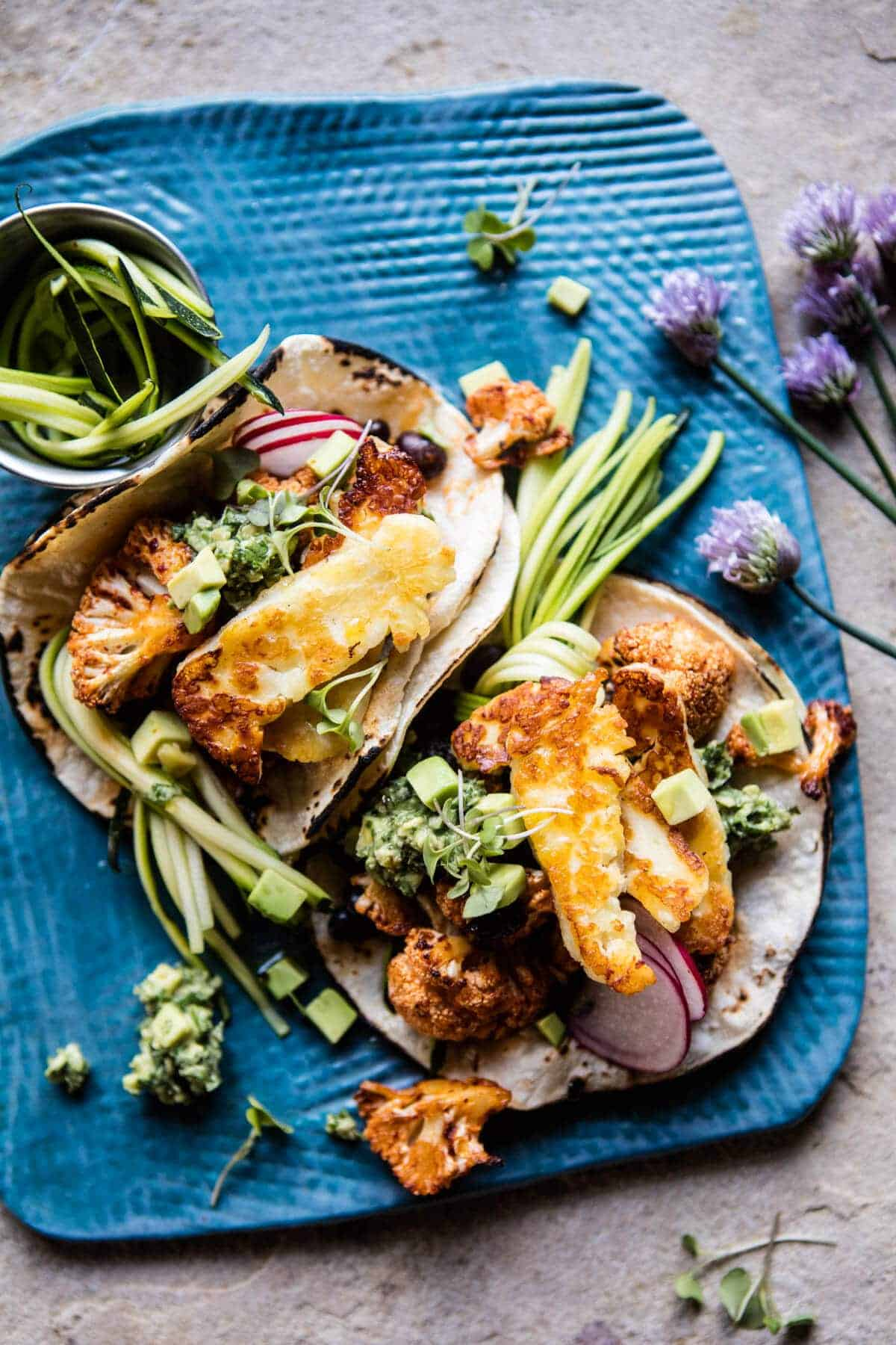 Roasted Cauliflower Fried Halloumi Tacos with Spicy Avocado Basil Salsa | halfbakedharvest.com @hbharvest