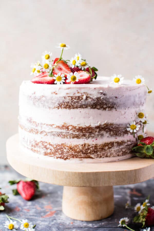 Strawberry Coconut Carrot Cake with Mascarpone Buttercream.