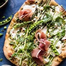 Super Green Pea and Asparagus Burrata Pizza.