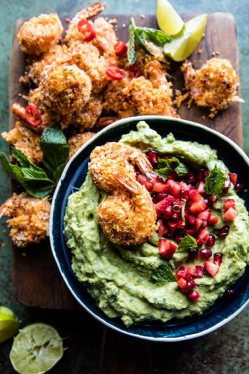 Baked Thai Coconut Shrimp with Lemongrass Guacamole.