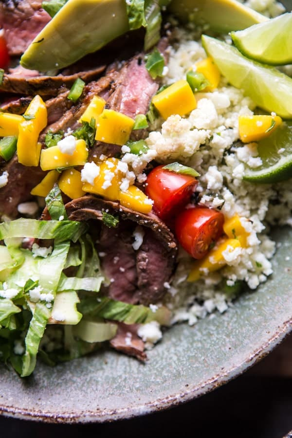 Cauliflower Rice Carne Asada Bowls with Mango Salsa | halfbakedharvest.com @hbharvest
