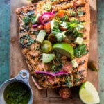 Cuban Grilled Salmon with Tomato Avocado Salsa.