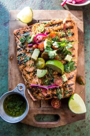 Cuban Grilled Salmon with Tomato Avocado Salsa.