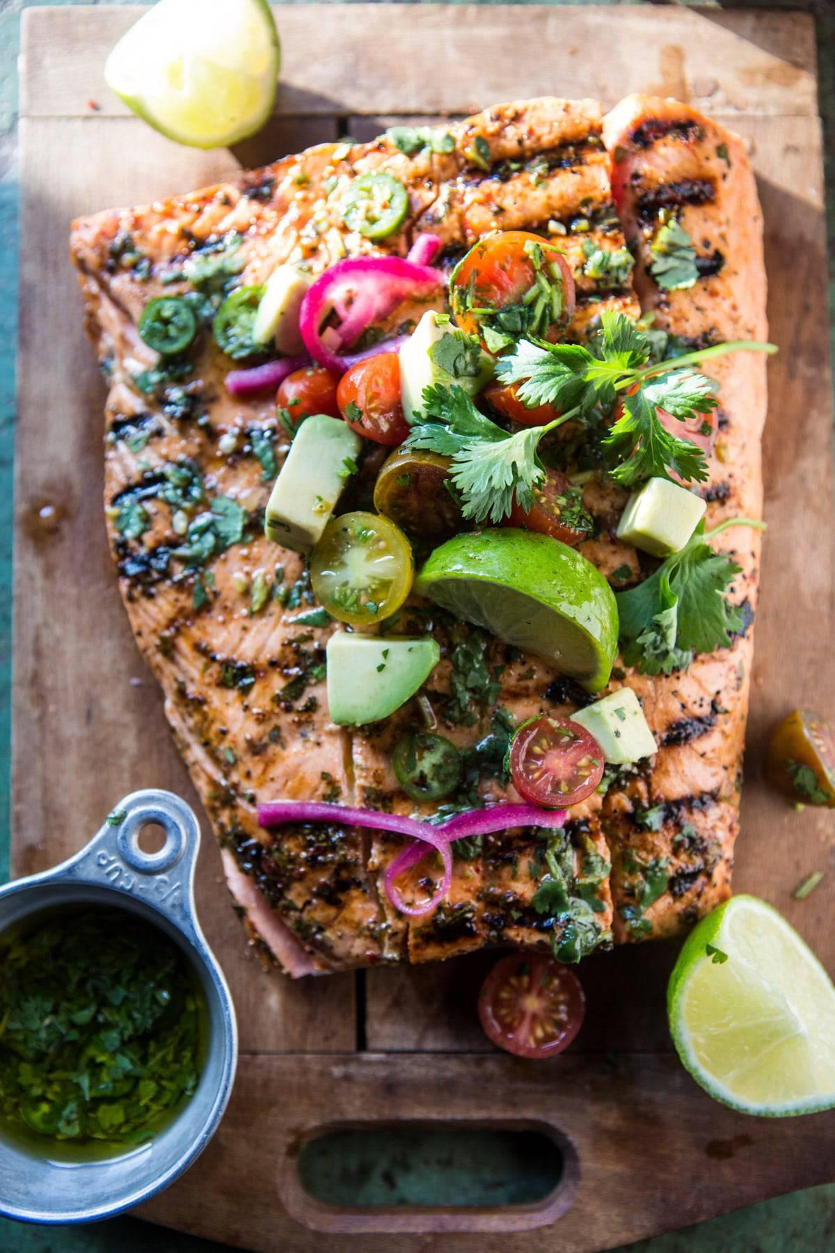 Cuban Grilled Salmon with Tomato Avocado Salsa | halfbakedharvest.com @hbharvest