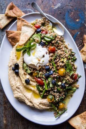 Farro Tabbouleh with Burrata and Hummus.