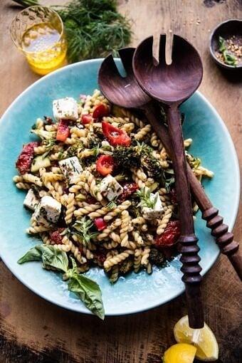 Greek Lemon Roasted Broccoli Pasta Salad   halfbakedharvest.com @hbharvest