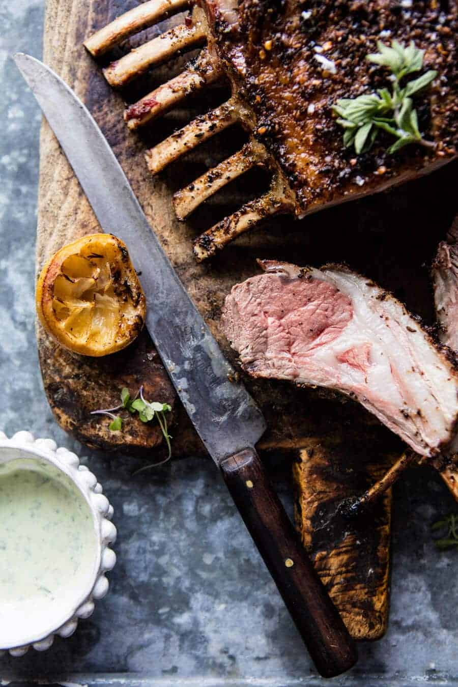 Roasted Rack of Lamb with Basil Goat Cheese Sauce | halfbakedharvest.com @hbharvest