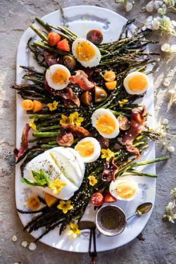 Sesame Roasted Asparagus, Egg and Bacon Salad.