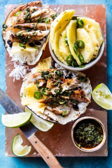 Spicy Fish Tacos with Tequila Lime Pickled Pineapple.
