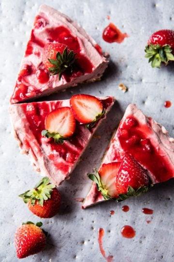 Strawberry Ripple Almond Cheesecake.