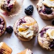 Blackberry Swirl Muffins with Honey Butter.