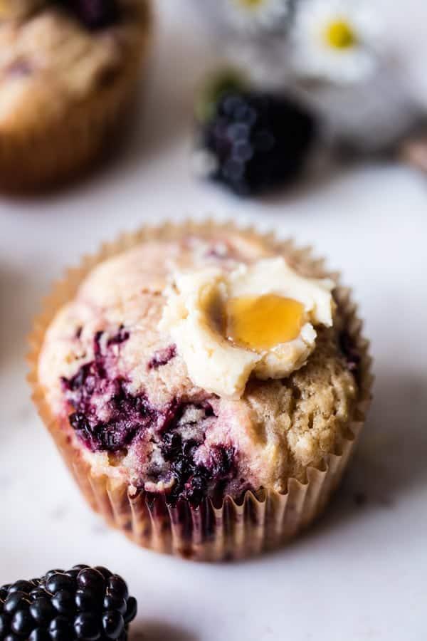 Blackberry Swirl Muffins with Honey Butter | halfbakedharvest.com @hbharvest
