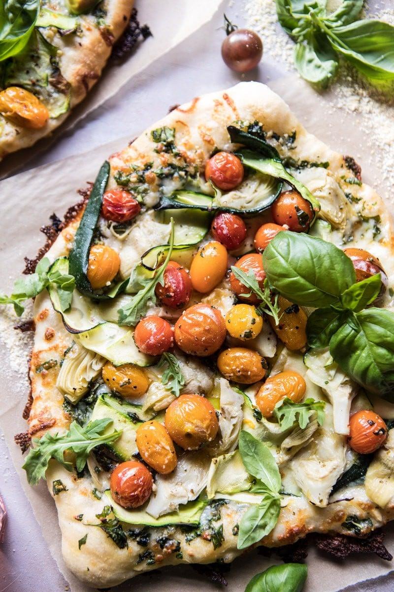 Burst Cherry Tomato, Artichoke, and Zucchini Pesto Pizza | halfbakedharvest.com @hbharvest