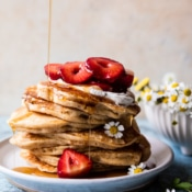 Buttermilk Pancakes with Chamomile Cream and Gingered Strawberries.