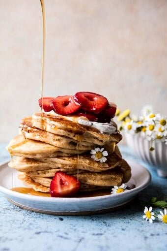 Buttermilk Pancakes with Chamomile Cream and Gingered Strawberries | halfbakedharvest.com @hbharvest