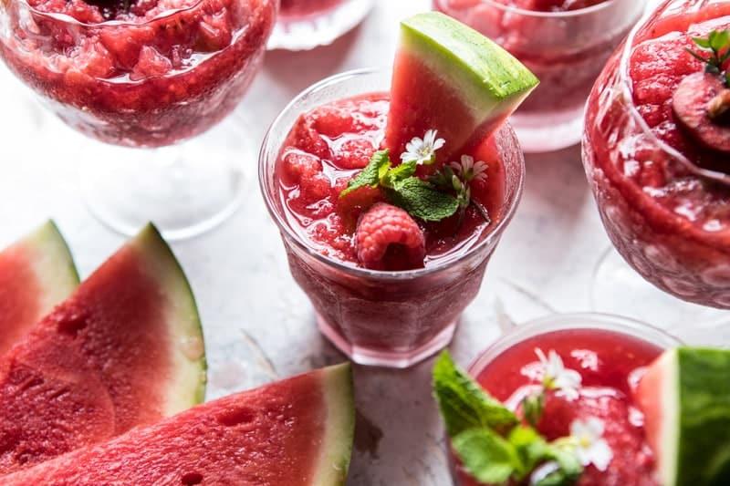 Frozen Watermelon Rose Sangria Slushies | halfbakedharvest.com @hbharvest