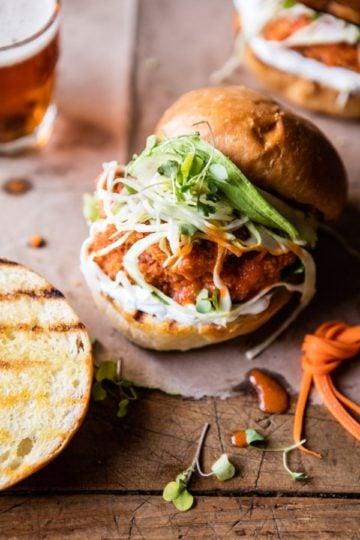 Healthier Oven Fried Sweet Tea Buffalo Chicken Sandwich.