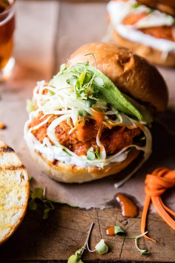 Healthier Oven Fried Sweet Tea Buffalo Chicken Sandwich | halfbakedharvest.com @hbharvest