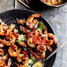 Honey Garlic Korean BBQ Grilled Shrimp.