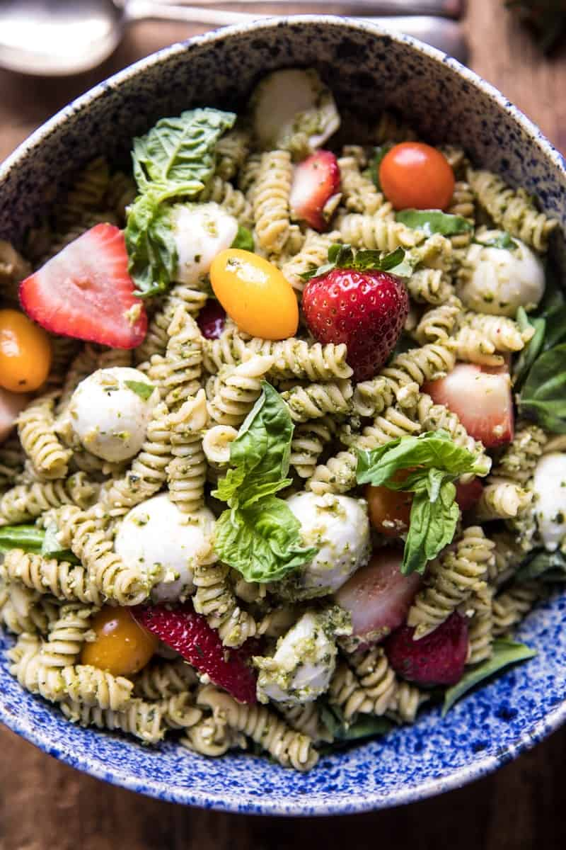 Strawberry Avocado Pesto Pasta Salad | halfbakedharvest.com @hbharvest