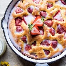 Strawberry Cornmeal Cake with Buttermilk Glaze.