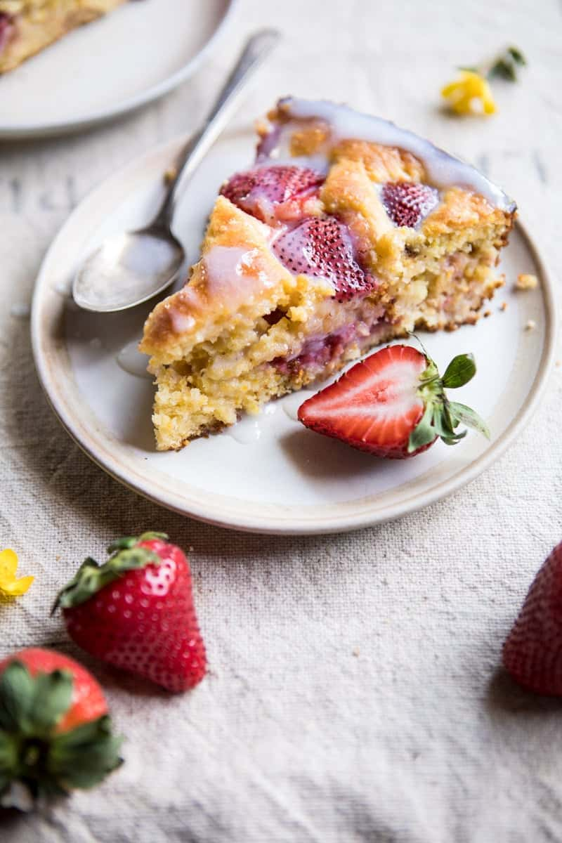 Strawberry Cornmeal Cake with Buttermilk Glaze | halfbakedharvest.com @hbharvest