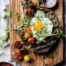 Tuscan Steak with Marinated Cherry Tomatoes.
