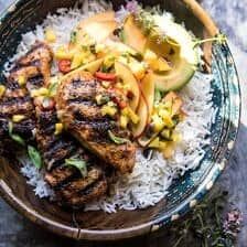 20 Minute Grilled Jerk Chicken with Mango-Nectarine Salsa.