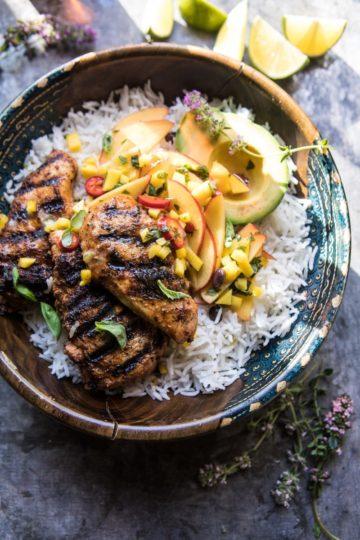 20 Minute Grilled Jerk Chicken with Mango-Nectarine Salsa.