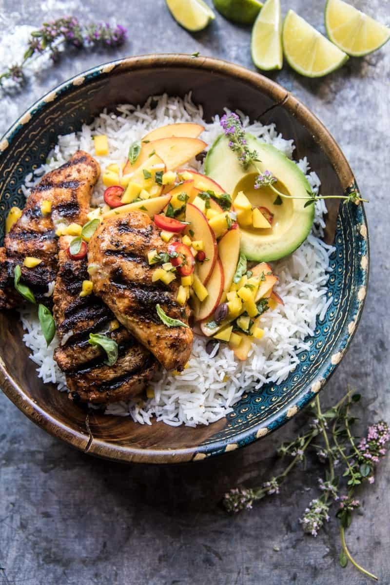 20 Minute Grilled Jerk Chicken with Mango-Nectarine Salsa | halfbakedharvest.com @hbharvest