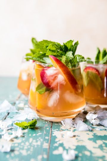 Strawberry Peach Sweet Tea Julep Pitcher.