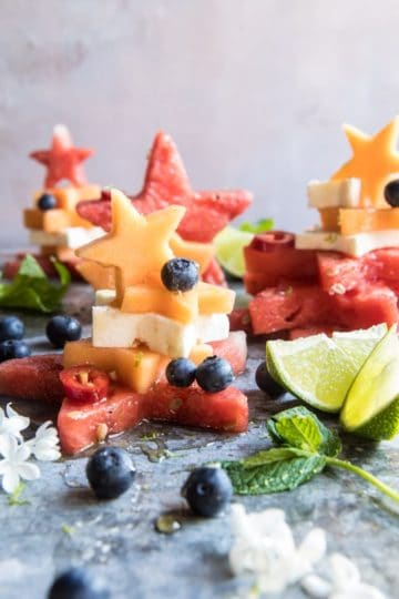Blueberry, Melon, Feta, Fruit Salad Stacks.